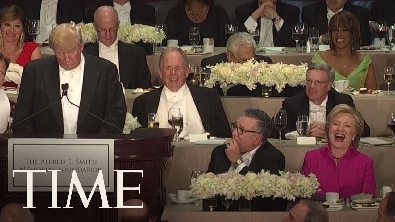 Trump And Clinton Trade Insults At Alfred E Smith Memorial Foundation Dinner Time Youtube