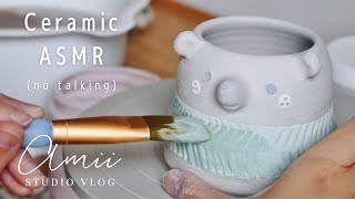 ASMR | Studio Vlog | Glaze & Paint with Me | Repotting Plants | Silent Vlog | Chill Calm Vlog
