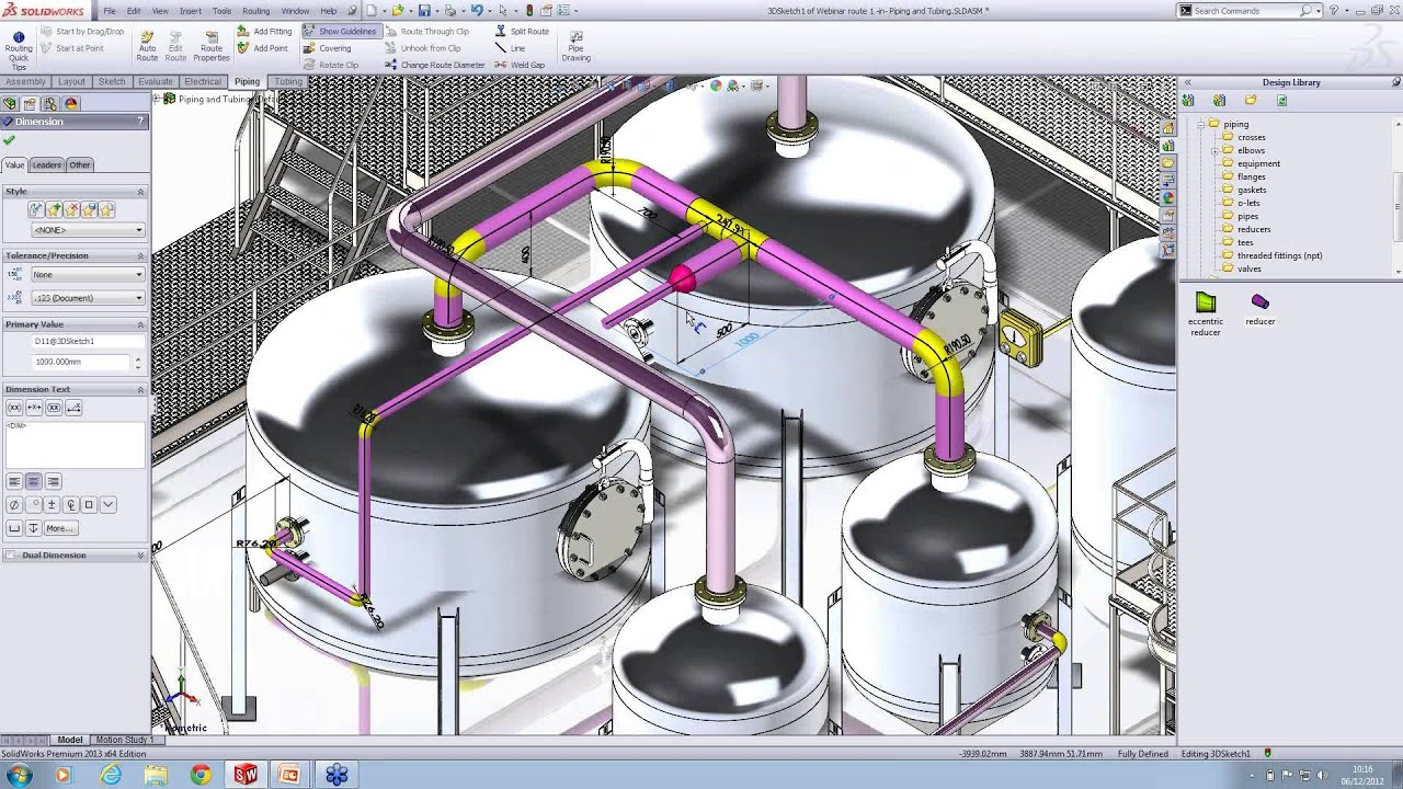 3d Piping Diagram Auto Electrical Wiring Glow Plug 7 3 2000my Creating Automatically In Solidworks