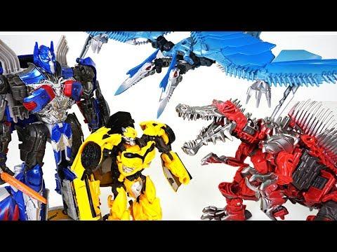 Transformers 5 dinosaur dinobot appeared! Scorn, Strafe, Optimus Prime, Bumblebee - DuDuPopTOY