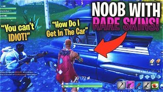 I acted like a NOOB with RARE Fortnite Skins... (KID EXPOSES ME MID GAME)