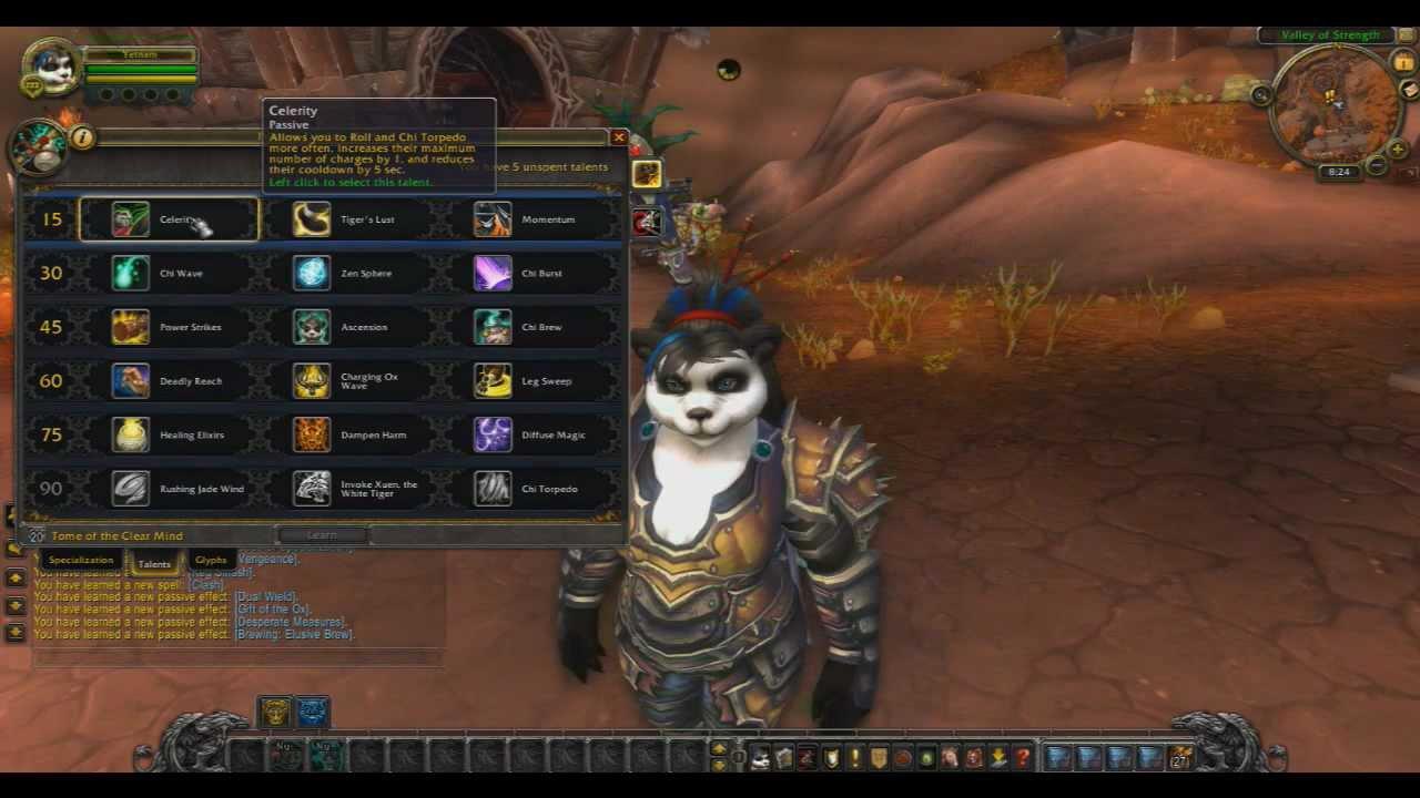 World of Warcraft Pandaren Monk Talent Trees and Glyphs