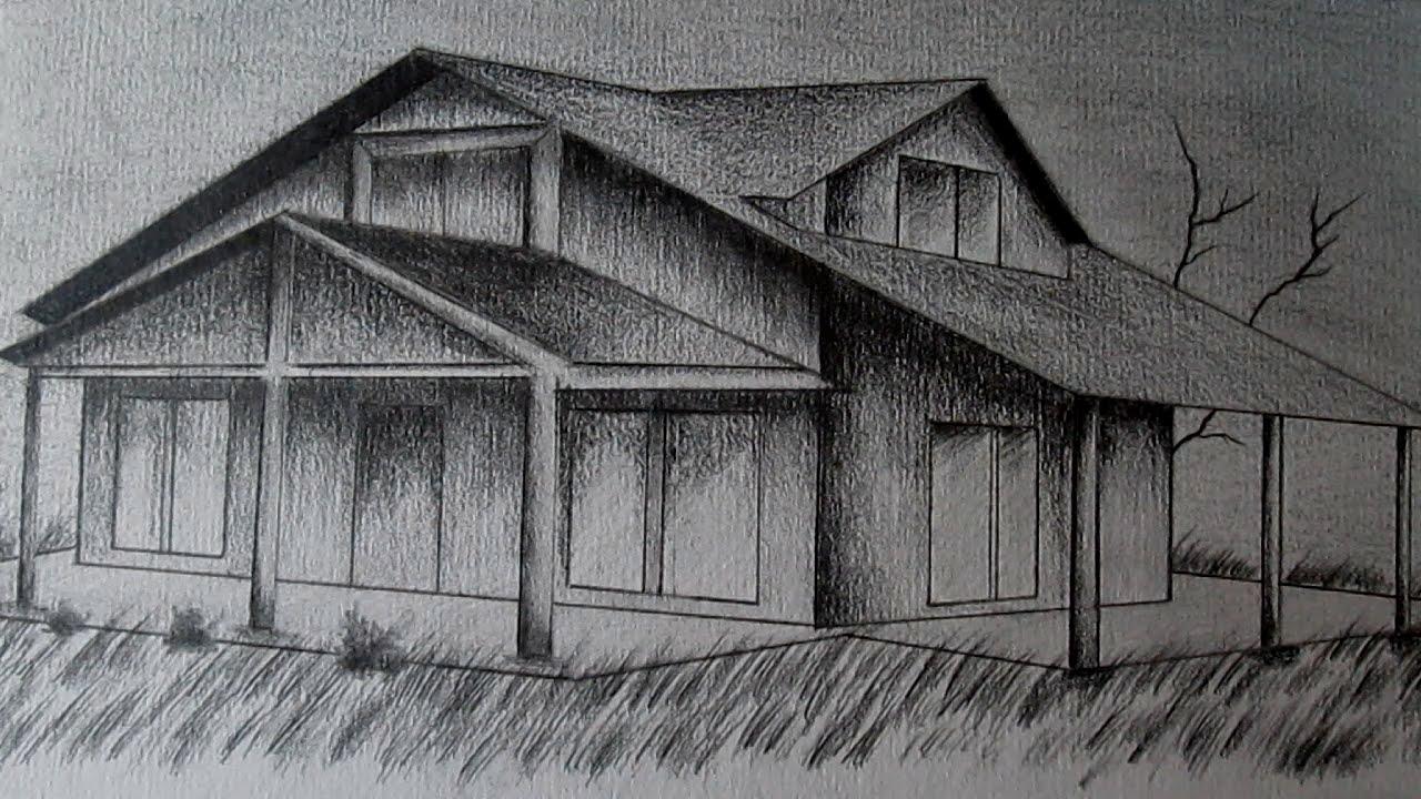 C mo dibujar una casa en perspectiva paso a paso aprender a dibujar en 3d youtube - Imagenes de casas para dibujar ...