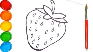 Glitter Strawberry coloring pages for kids | How to Draw Strawberry | Drawing and Coloring