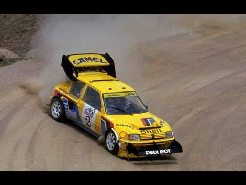 History from 1987 as Ari Vatanen tackles  Pikes Peak in a Group B Peugeot 205 Turbo T16