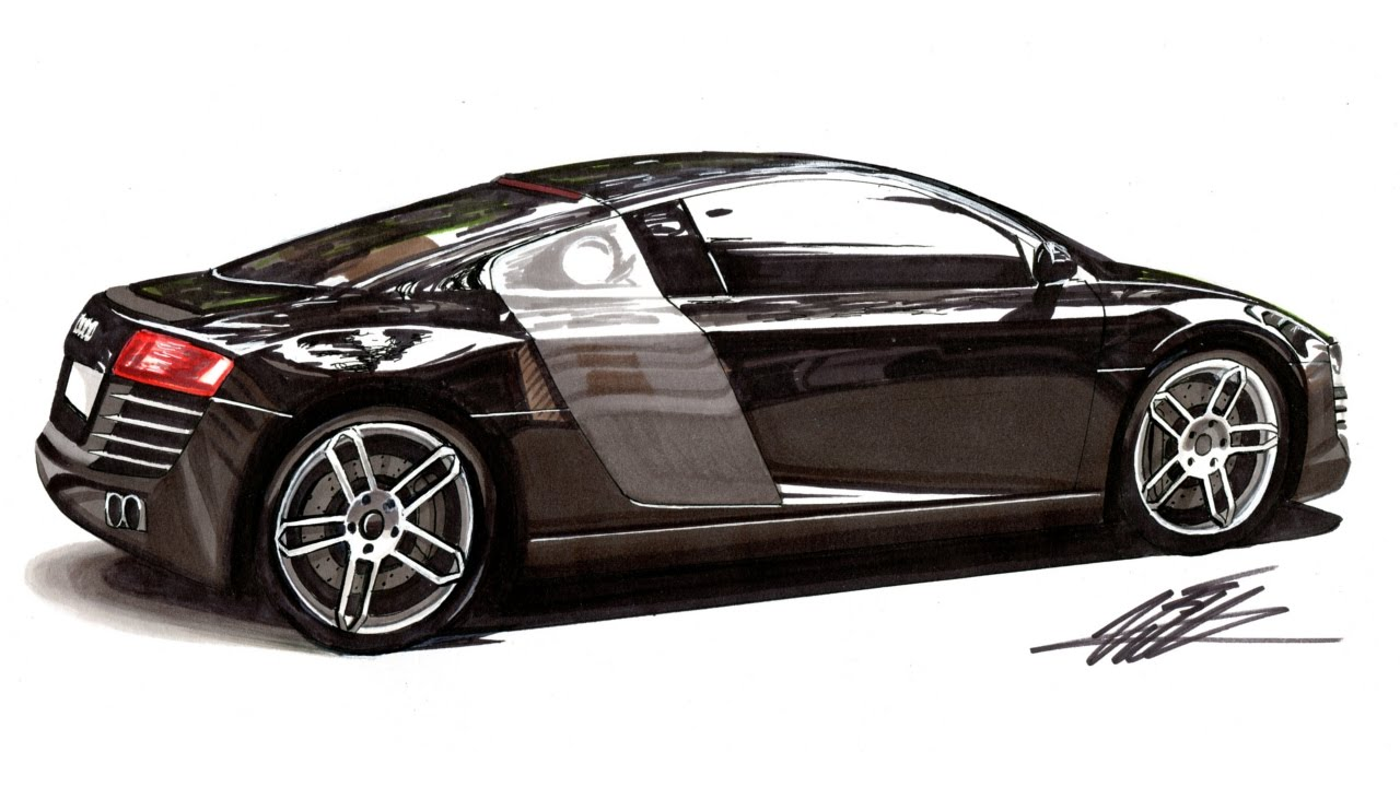 Realistic Car Drawing Audi R8 Time Lapse Youtube