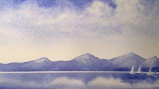 Акварель. Как легко и быстро нарисовать  картину одним цветом. Just UltramarineBlue.Watercolor