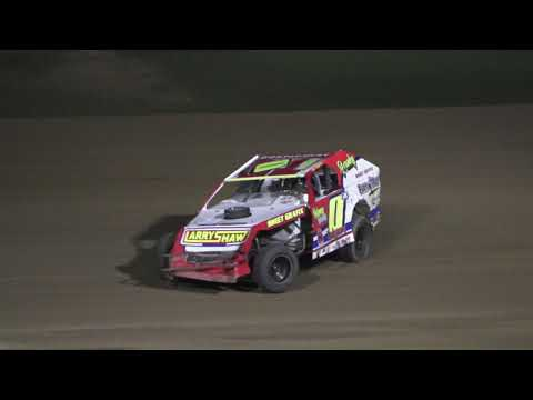 Heat 1 (10 Laps): 26-James Beaulieu, 22-Calvin Stemler, 0M-Milt Montgomery, 4-Taylor Wiles, 93-Brady Hollenbeck, 04-Aaron Raby, 14-Steve Webb, ... - dirt track racing video image