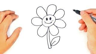 Cómo dibujar un Flor para niños | Dibujo de Flor paso a paso