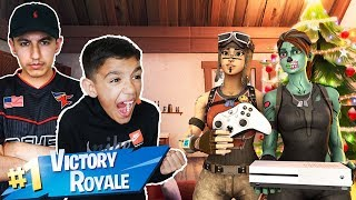 I Finally Won A Fortnite Game On XBOX With Little Brother! Pc Players Play Fortnite On Console!