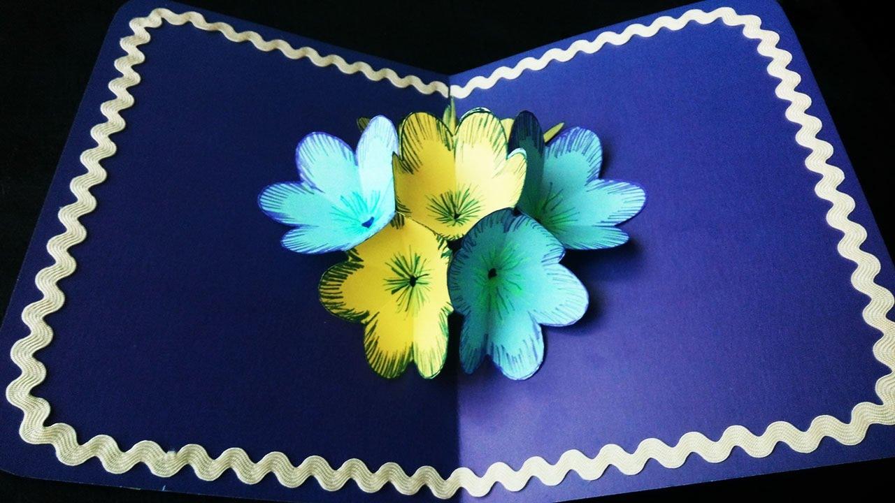 открытка с объемными цветами своими руками мастер класс