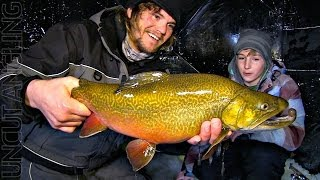 Sightfishing Ice Tiger Trout - Uncut Angling - January 23, 2014