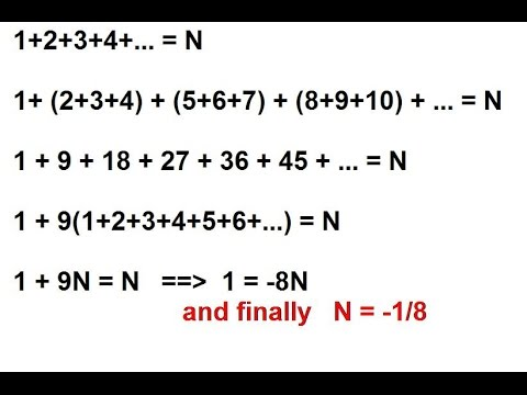 Sum of all natural numbers 1+2+3+4+... = -1/8
