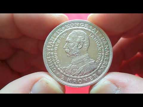 DENMARK SILVER 2 KRONOR 1906 Death of Christian IX and Accession of Frederik VIII