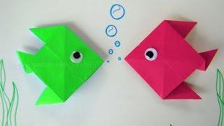 Origami Fisch falten mit Papier 🐟 Basteln mit Kindern - Einfache Bastelideen