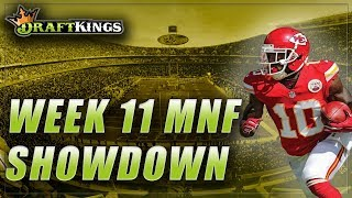 DRAFTKINGS WEEK 11 MONDAY NIGHT SHOWDOWN: CHIEFS vs. CHARGERS NFL MNF