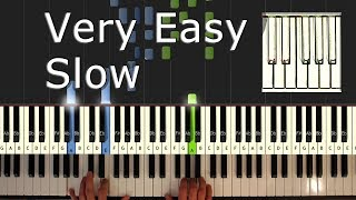 Jingle Bells - VERY EASY SLOW Piano Tutorial  - How To Play (Synthesia) Christmas