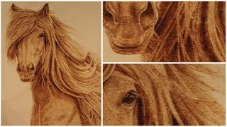 Beautiful Horse Wood Burning Art