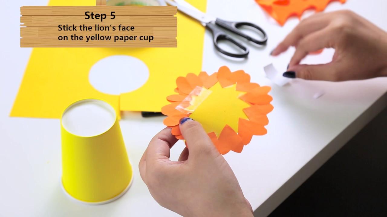 Make a Paper Cup Lion - Lion Puppet or Lion Prop