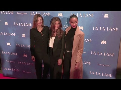 Miss France 2015, Miss France 2016 Iris Mittenaere and Miss France 2014 at the La La Land Premiere