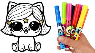 Draw and Color LOL Surprise Lils Kitten | How to Draw Witchay Kittay for Kids