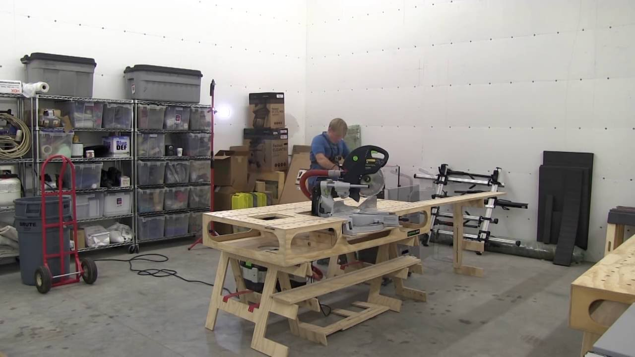 portable woodshop set up in under 12 minutes youtube. Black Bedroom Furniture Sets. Home Design Ideas