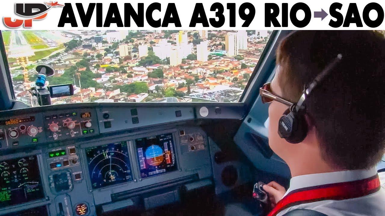 Piloting Avianca Airbus A319 from Rio to Sao Paulo | Cockpit Views