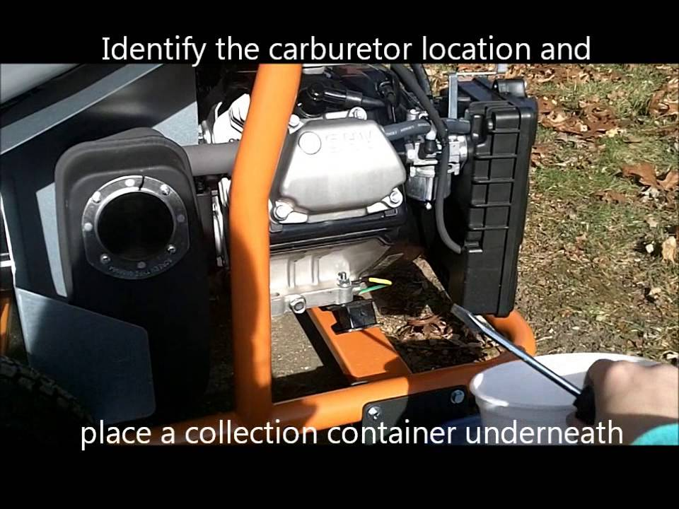 How to drain gas from a generator gas tank and carburetor for Ridgid 6800 watt generator with yamaha engine
