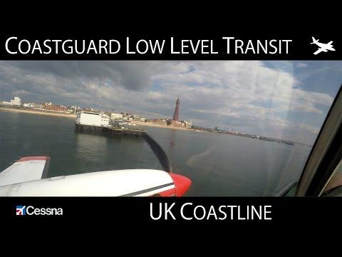 Coastguard Low Level Aircraft Transit - UK (4K)