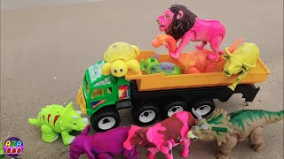 เอาวัว ควาย สิงโต ช้าง ม้า ไดโนเสาร์ เต่า กบมาขึ้นรถดั้มที่ทะเล cow buffalo elephant horse dinosaur