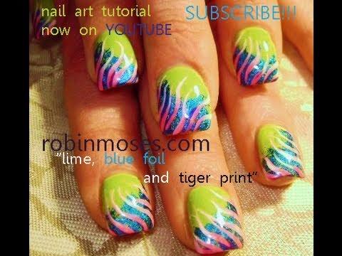 Diy Nail Art Foil On Lime Green Nails Pink Zebra Youtube