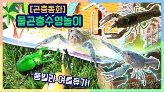 [곤충동화]물곤충수영놀이! 풍빌라 여름휴가_ 에그박사와 곤충친구들