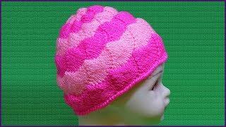 Красивая шапка спицами. Женская шапка спицами. Пэчворк спицами. Шапка спицами. (Cap of patchwork)