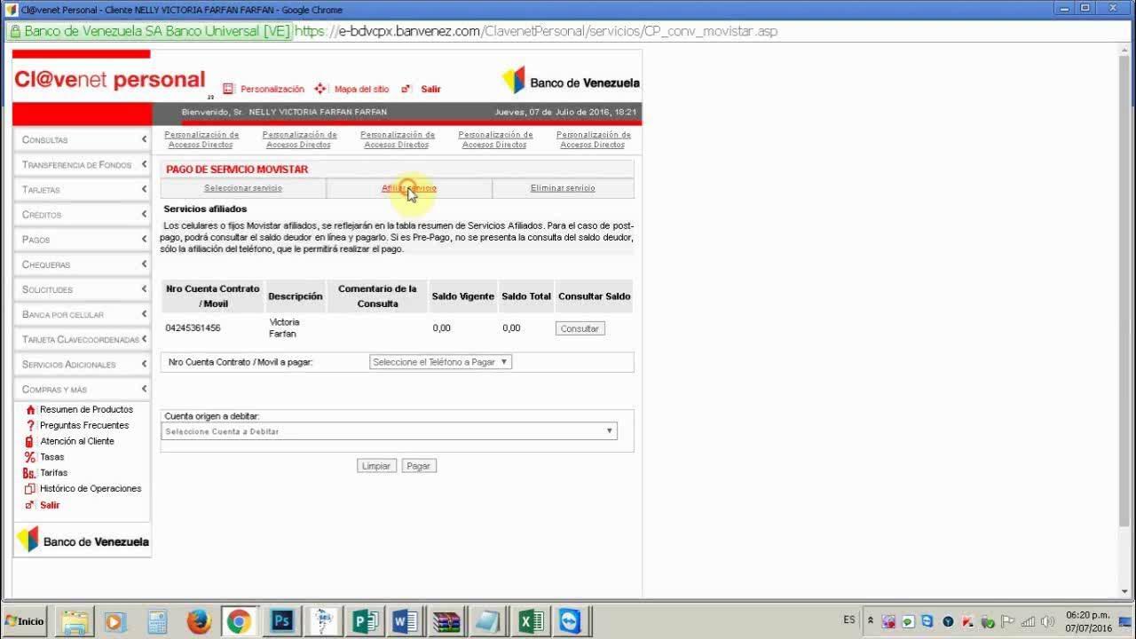 Recarga movistar a trav s del banco de venezuela youtube for Banco venezuela online