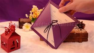 Romantic design purple wedding invitation card with ribbon