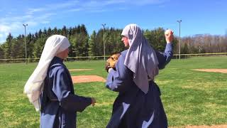 Sr. Bernadette Practices for First Pitch at Ballpark Day of Faith 2018