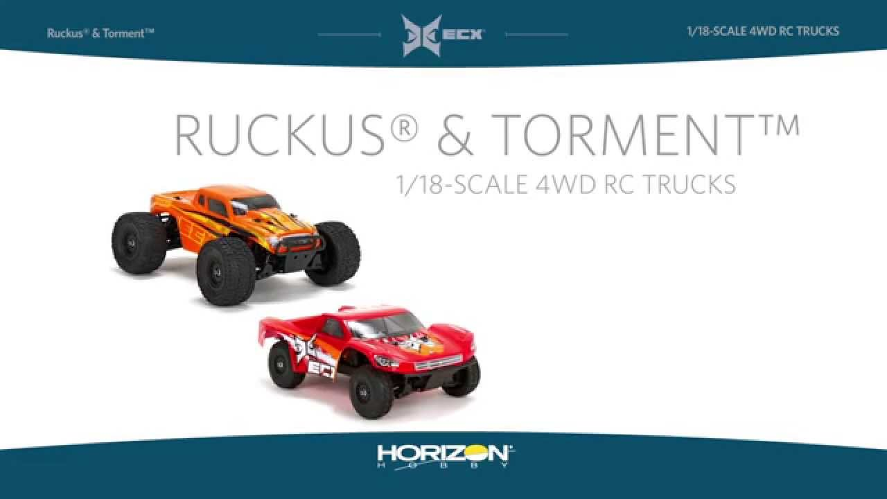 1/18 Ruckus 4WD Monster Truck and 1/18 Torment 4WD Short Course Truck