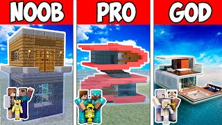 Minecraft NOOB vs PRO vs GOD : FAMILY FUTURE HOUSE ON WATER in Minecraft ! Animation