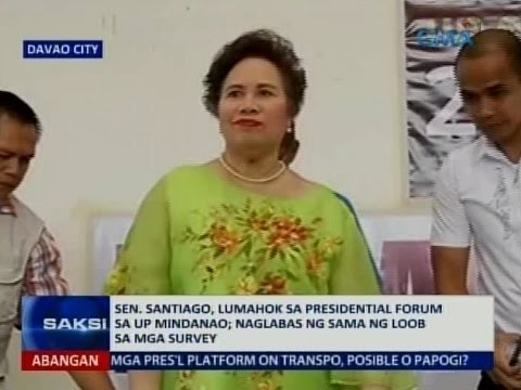 Saksi: Sen. Santiago, lumahok sa presidential forum sa UP Mindanao
