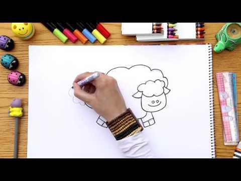 للأطفال/ تعلم رسم خروف