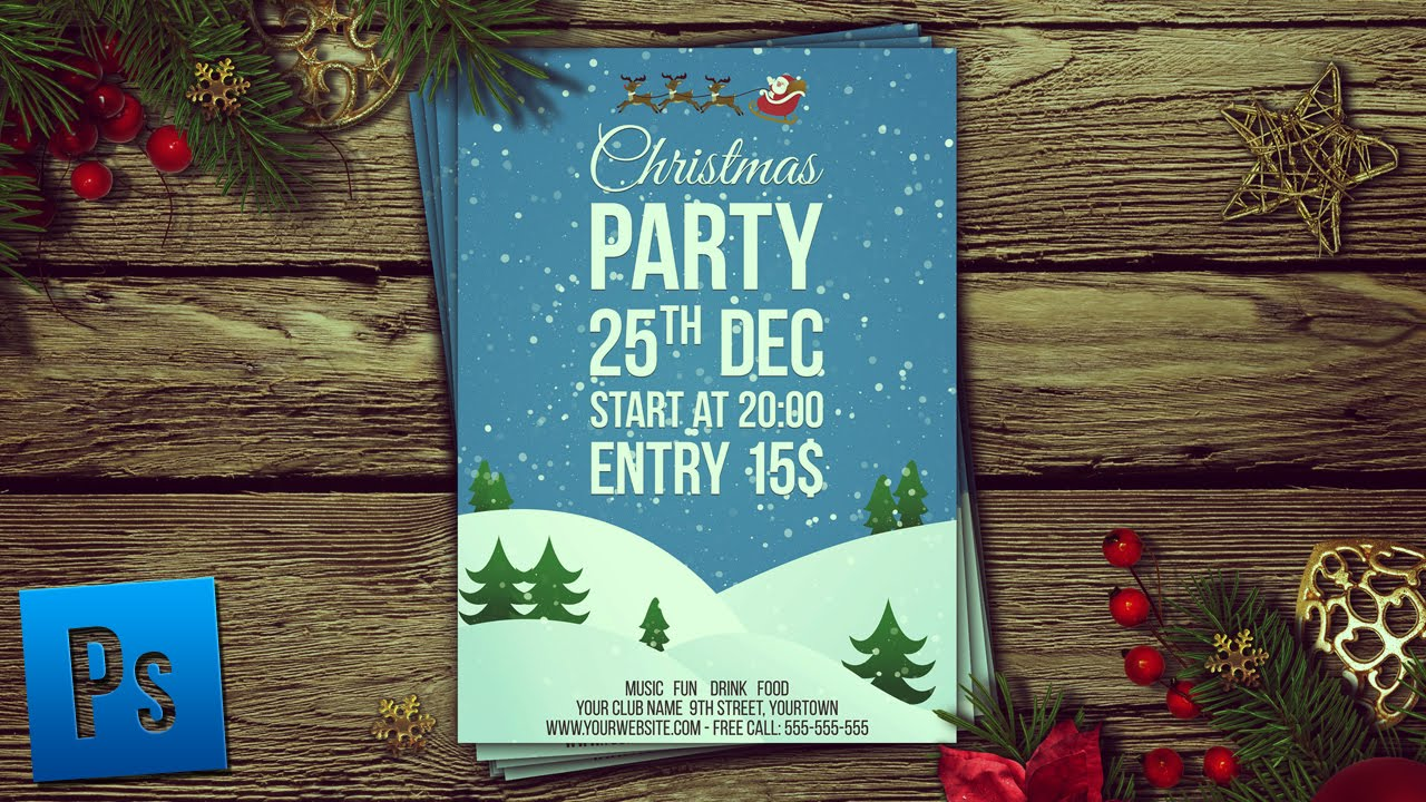 christmas party flyer psd photoshop tutorial youtube