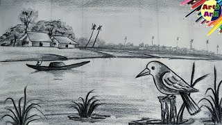 shading scenery pencil easy drawings drawing step