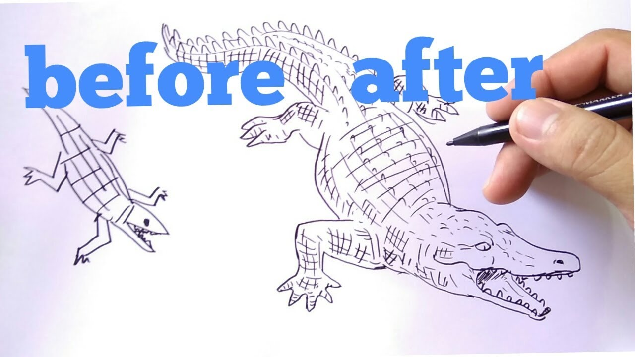 How To Draw Crocodile Cara Menggambar Buaya