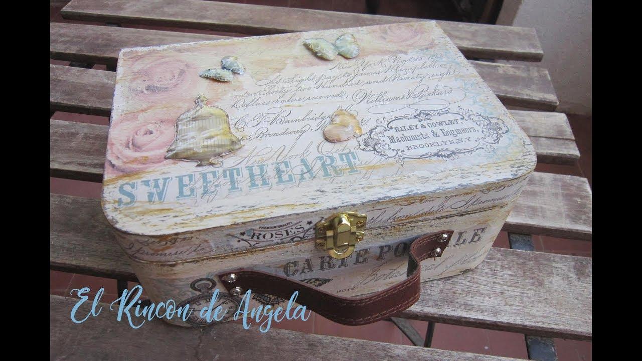Como decorar una maleta de madera con decoupage diy - Manualidades con cajas de madera ...