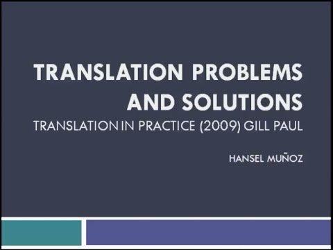 Translation Problems and Solutions (Literary Translation)