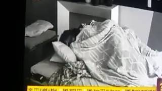 TTT and Bisola Cuddle in bed while TTT works with his hand