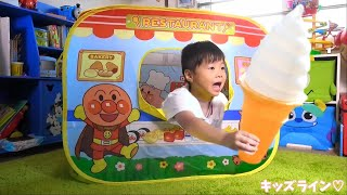 アンパンマン おもちゃ おうちでレストラン 家 キッズ テント お店屋さんごっこ おままごと ハンバーガー屋さんごっこ おゆうぎ こうくんねみちゃん