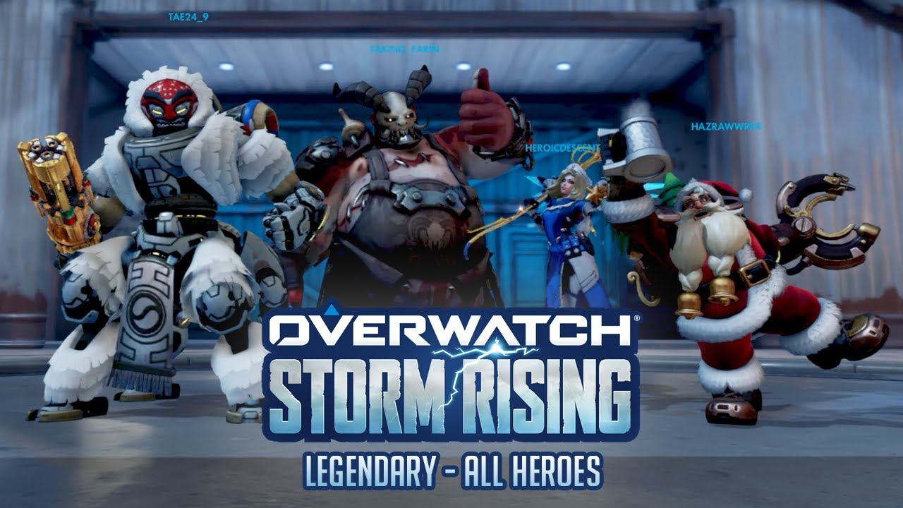 Overwatch | Storm Rising Legendary - All Heroes! Clutching with Mercy!