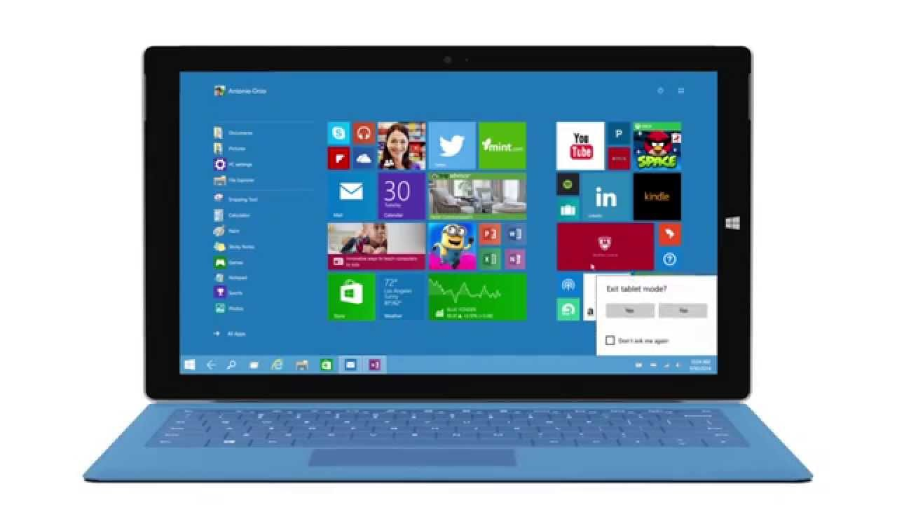 Switching Windows 10 From Laptop To Tablet Mode Demo