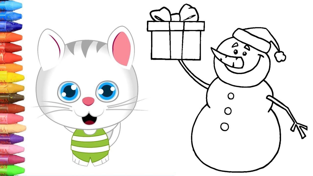 Sevimli Kedicik Ile Kardan Adam Nasıl Yapılır Nasıl çizilir Boyama
